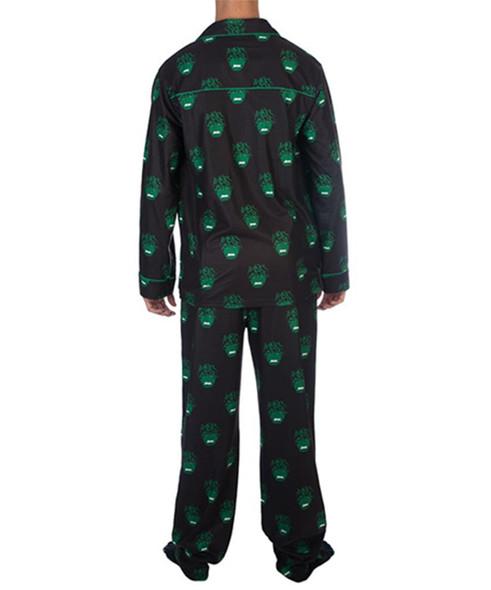 Marvel The Hulk Smash Pajama Set All-Over Print Adult Flannel PJ Sleepwear LARGE