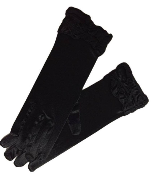 Black Satin Stretch Short Gloves Ruffles Gothic Victorian Women's Costume Access