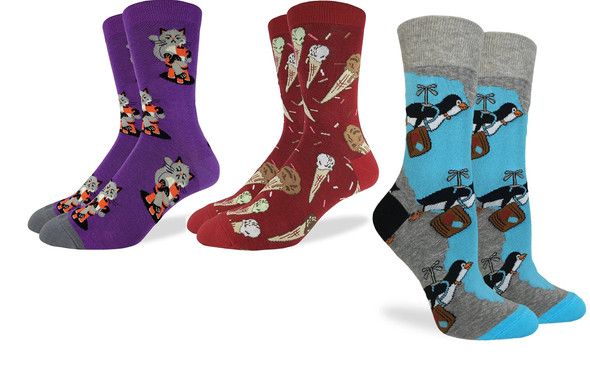 Lot Of 3 Good Luck Socks Adult Shoe Size 5-9 Women's Ice Cream Cats Penguins