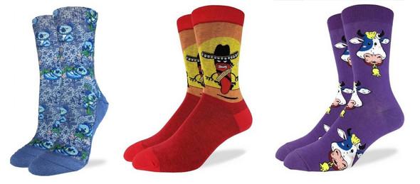 Lot of 3 Good Luck Socks Koala Bears, Hot Chili Pepper & Cow Adult Shoe Size 5-9