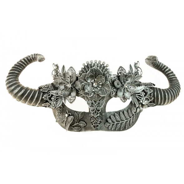 Antique Silver Steampunk Fancy Eye Mask w Horns Adult Mystical Creature Animal