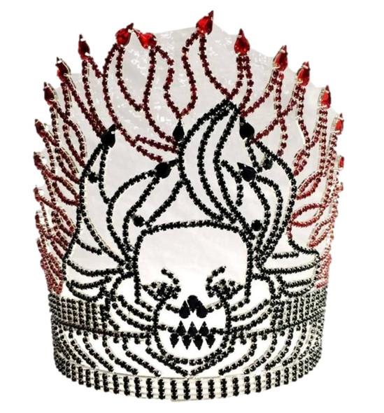 "8"" Black Rhinestone Skull Tiara Crown Red Fire Flame Halloween Costume Accessory"