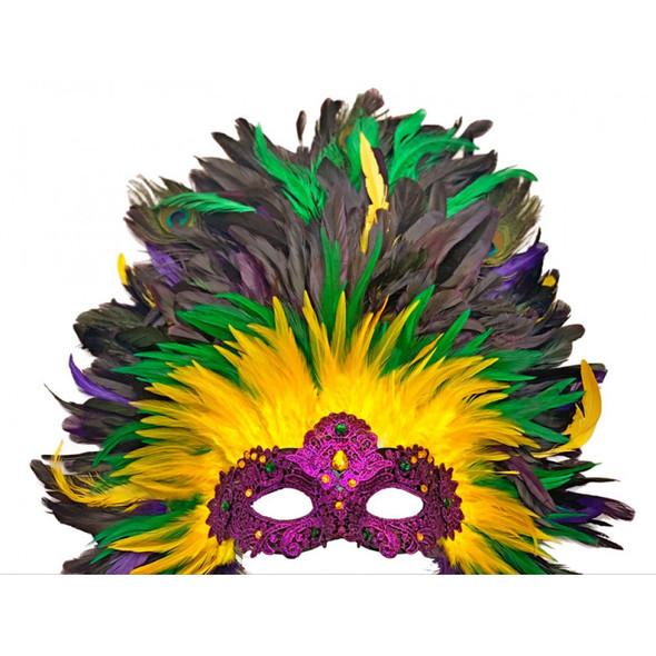 Mardi Gras Masquerade Venetian Party Mask Luxe Feather Showgirl Headdress PGG