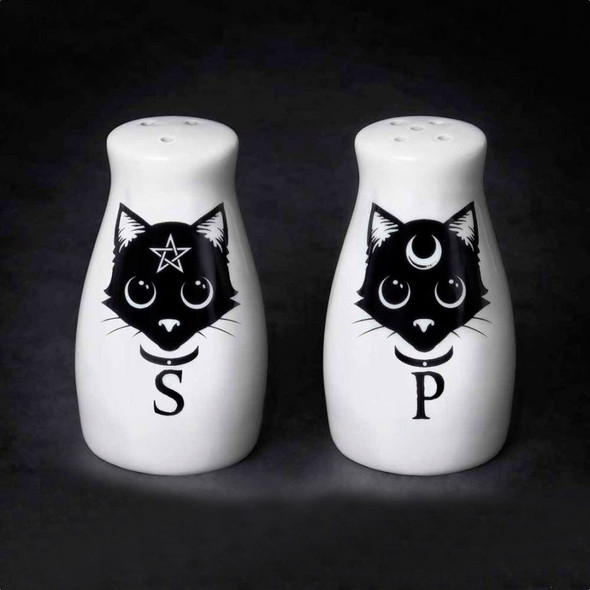 Alchemy of England Magic Cats Salt and Pepper Shakers Set Ceramic Halloween