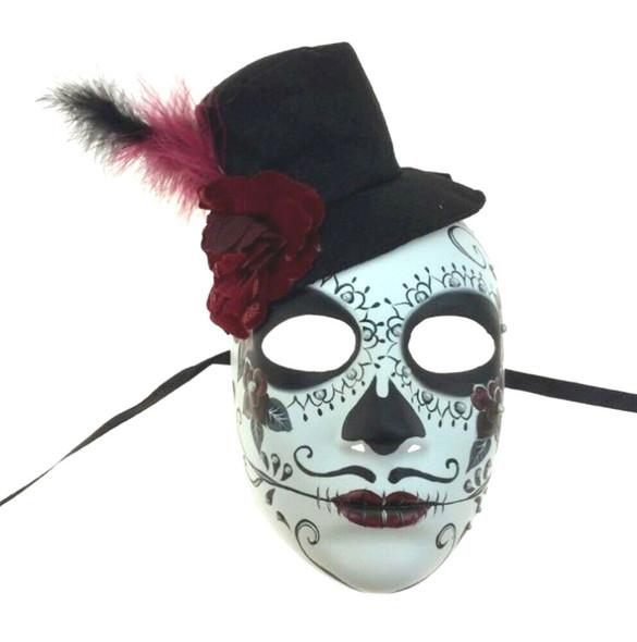 Day Of The Dead Sugar Skull Face Mask Halloween Skeleton Head Men's Groom DOD