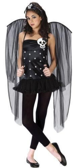 Skull Fairy Costume Gothic Wings Thigh Highs Adult Women Halloween Hot M/L10-14