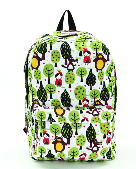 Little Red Riding Hood Canvas Backpack School Book Bag Sublimated Forest Print