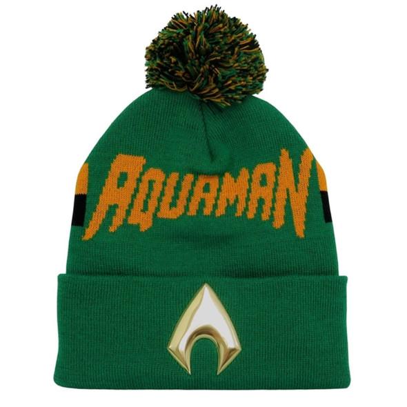 DC Comics Justice League Aquaman Knit Beanie Hat Super Hero Chrome Logo Weld