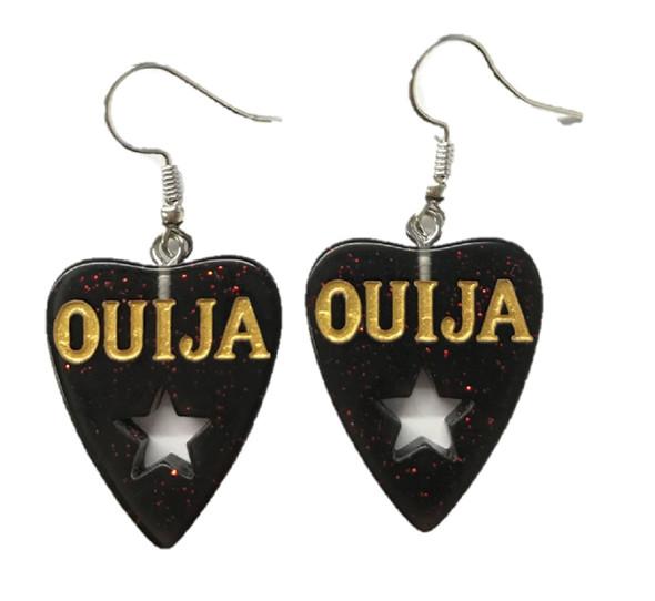 Red Glitter Ouija Planchette Earrings Spirit Board Goth Costume Jewelry