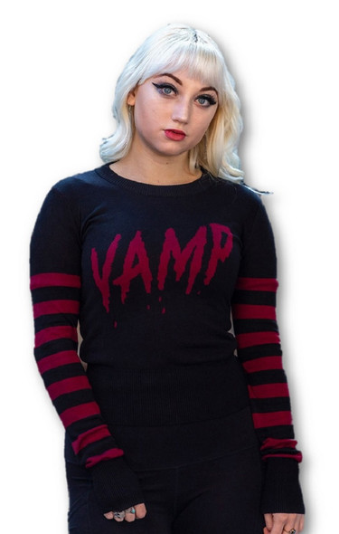 Sourpuss Clothing Vamp Sweater Fitted Pullover Black Gothic Women's LARGE