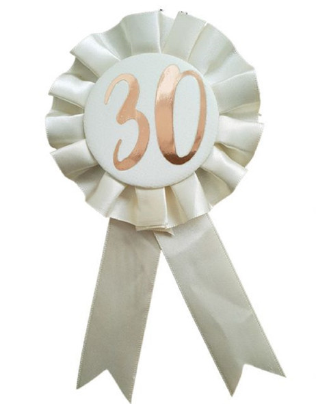 30th Birthday Metallic Rose Gold & Ivory Rosette Party Badge Ribbon B-Day Pin
