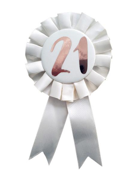 21st Birthday Metallic Rose Gold & Ivory Rosette Party Badge Ribbon B-Day Girl