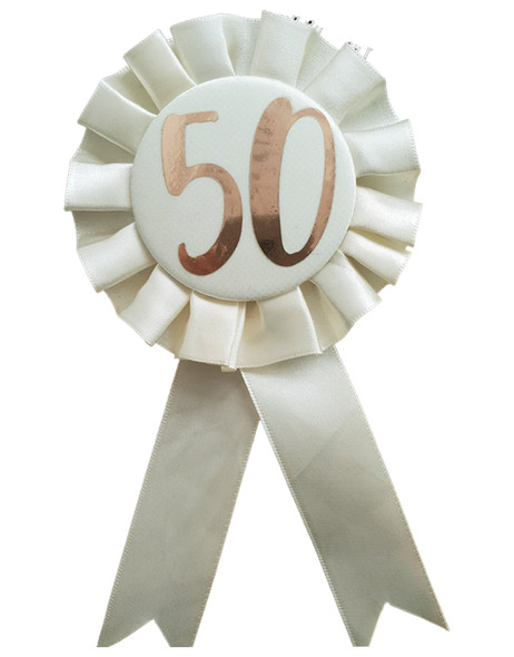 50th Birthday Metallic Rose Gold & Ivory Rosette Party Badge Ribbon B-Day