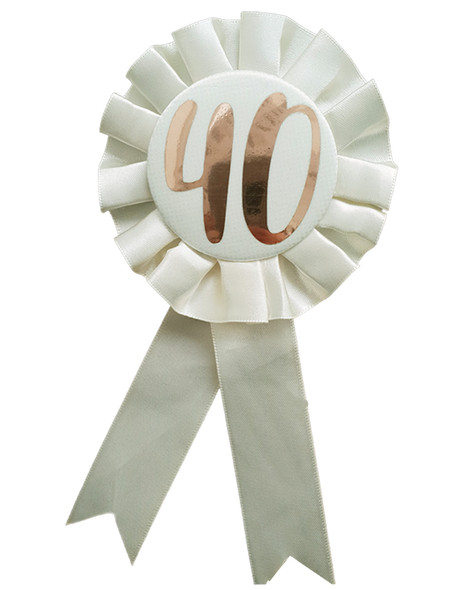 40th Birthday Metallic Rose Gold & Ivory Rosette Party Badge Ribbon B-Day