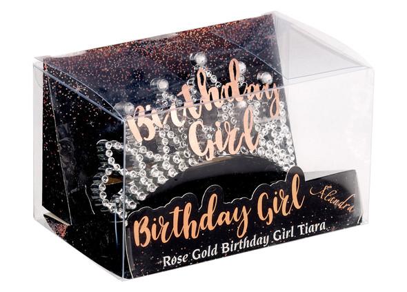 Birthday Girl Metallic Rose Gold Silver Tiara Hair Comb Mini Crown Party B-Day