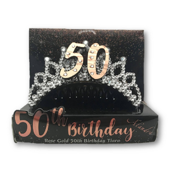 50th Birthday Metallic Rose Gold Silver Tiara Hair Comb Crown Party B-Day Attire