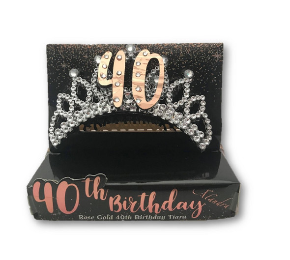40th Birthday Metallic Rose Gold Silver Tiara Hair Comb Crown Party B-Day Attire