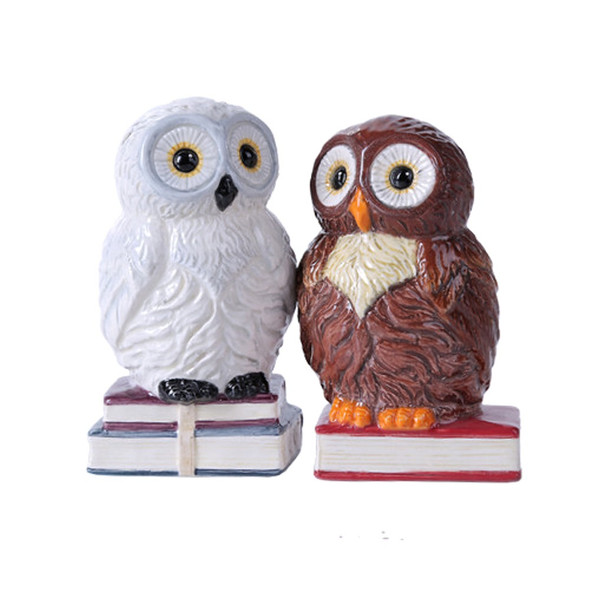 Book Owls Salt and Pepper Shakers Magnetic Ceramic Kitchen Set Hedwig They Kiss