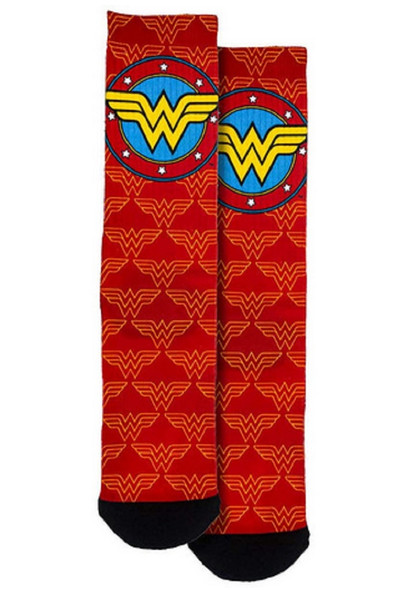 Spoontiques Fun Wonder Woman Logo Red Crew Socks One Size Fits Most Adults