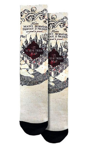 Spoontiques Fun Harry Potter Marauder's Map Crew Socks One Size Fits Most Adults
