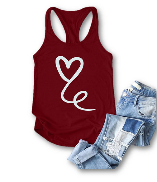 Heart Printed Burgundy Racerback Tank Top Summer Sleeveless Women's LARGE