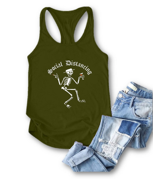 Social Distancing Skeleton Green Racerback Tank Top Summer Sleeveless Women's XL