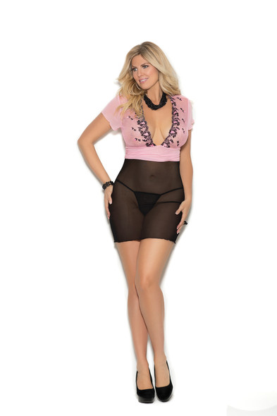 Elegant Moments Pink Black Babydoll Lingerie Empire Waist G-String Plus Size 1X
