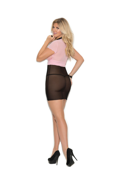 Elegant Moments Pink Black Babydoll Lingerie Empire Waist G-String Plus Size 1X