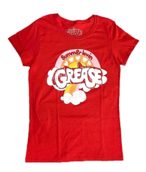 Grease Lightning Red Junior T-Shirt Women's Summer Lovin' Licensed Tee LARGE