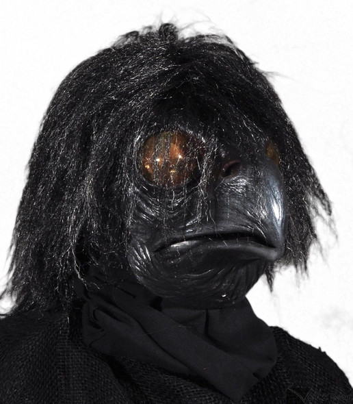 Black Raven Mask Latex Moving Mouth Crow Bird Adult Halloween Costume Ravenous