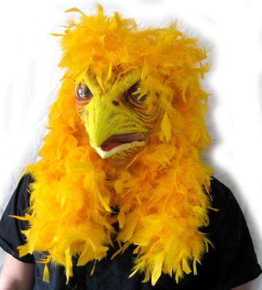 Super Chicken Latex Mask Yellow Feathers Moving Mouth Bird Adult Costume Acces.