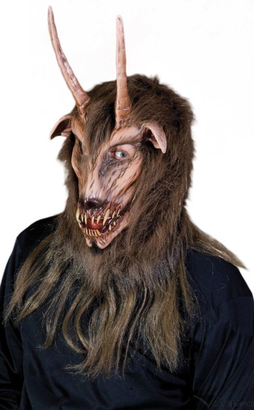 Got Your Goat Latex Mask Beast Quality Men Halloween Costume Horns with Hair