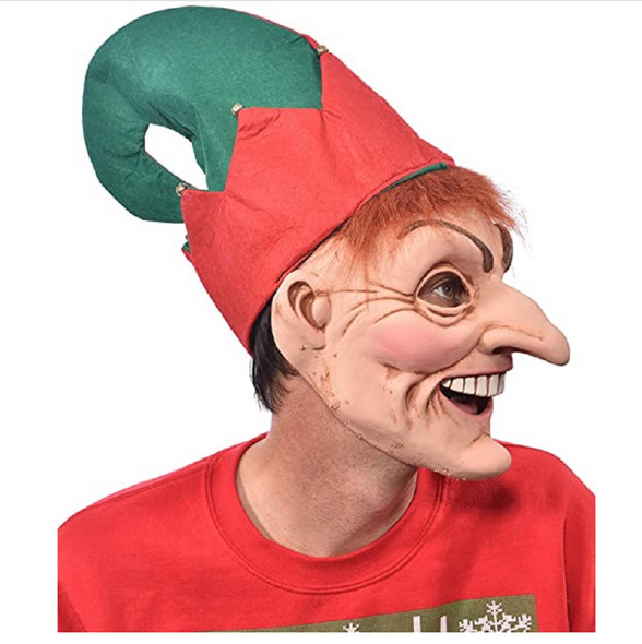 Speedy The Elf Latex Costume Face Mask Christmas Santa's Helper Adult Men