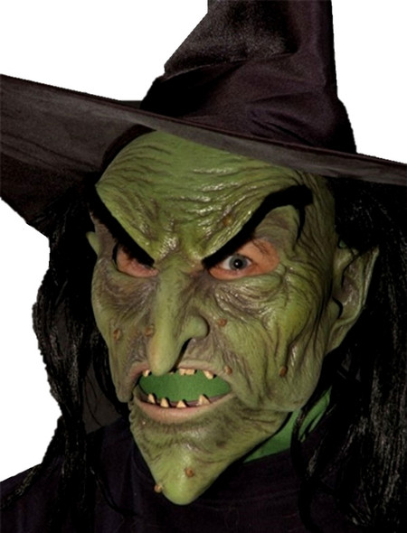 Wicked Witch Mask & Hat Latex Moving Mouth Green Halloween Costume Accessory Oz