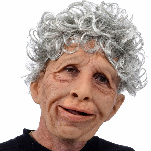 Realistic Grandma Marge Old Lady Woman Quality Mask Moving Mouth Hair
