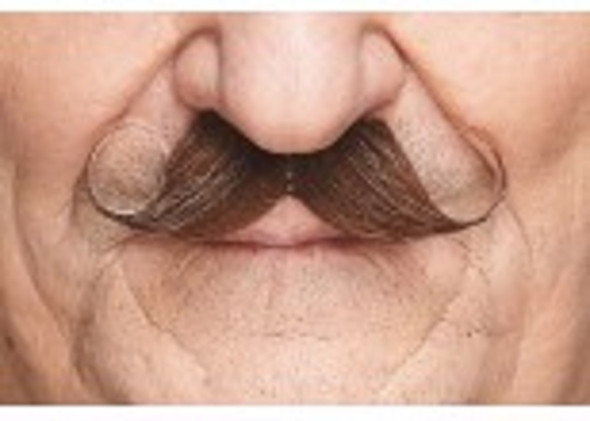 Brown White Handlebar Mustache Curly Poirot Self Adhesive Facial Hair Mens