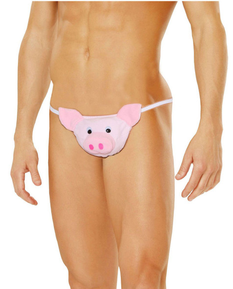 Elegant Moments Men's Sexy  Little Piggy Pig Pouch Animal Thong Underwear O/S