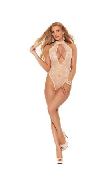 Elegant Moments Lace Slip On Teddy Peach Parfait Intimate Lingerie Women's Small