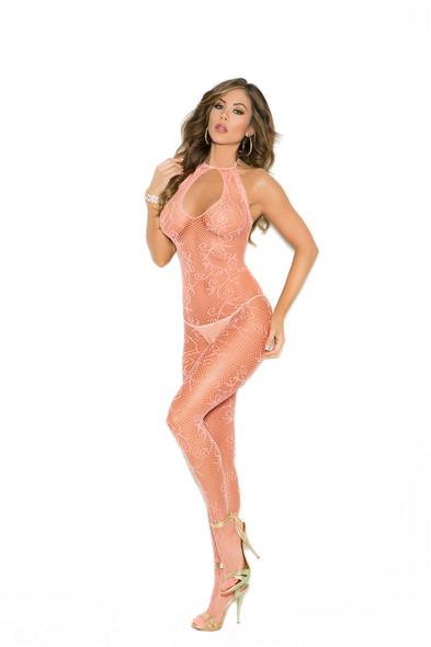 Elegant Moments Sexy Peach Frills Fishnet Bodystocking Lingerie Women's One Size