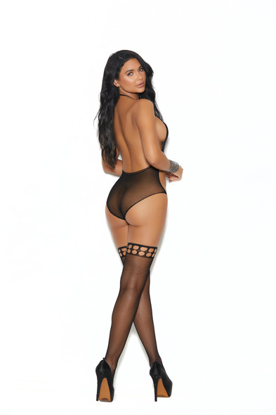 Elegant Moments Sexy Black Crochet Teddy w/ Thigh Highs Lingerie Women's One Size