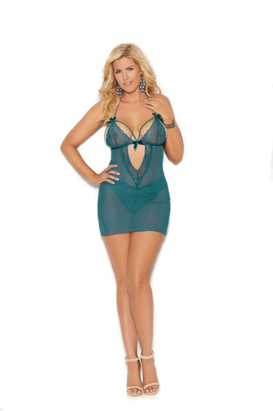 Elegant Moments Jade Strappy Babydoll Lingerie Lace Panty Women's Plus Size 2X