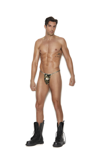 Elegant Moments Men's G-String Pouch w/ T Back Sexy Thong Camo Print One Size