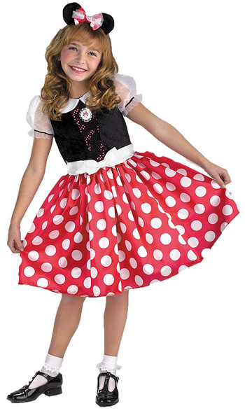 Disney Club House Minnie Mouse Child Costume Red Polka Dot Dress Girls MED 7-8