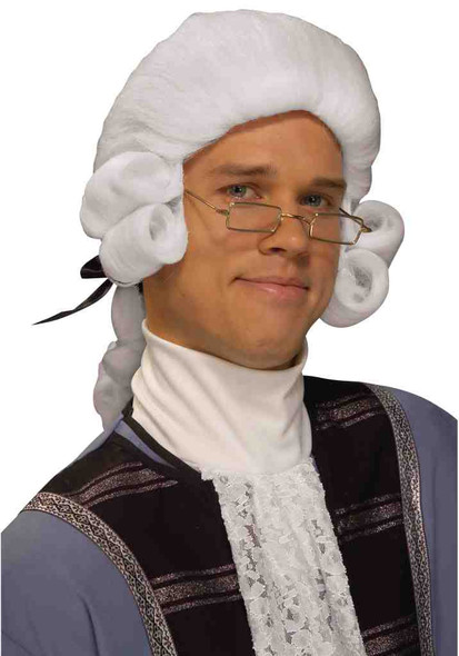 White Colonial Adult Wig Judge George Washington Historical Costume Accessory