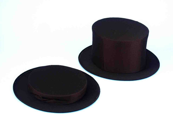 Black Collapsible Magic Top Hat Magician Ringmaster Child Costume Accessory Prop