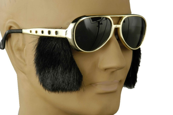 Rock N' Roll Glasses with Sideburns Elvis Sunglasses Adult Costume Accessory