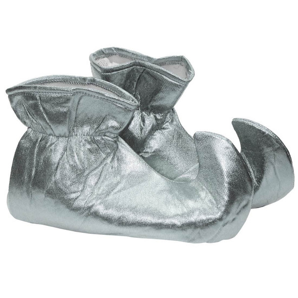 Shiny Metallic Silver Cloth Elf Shoes Genie Curly Toes Adult Costume Accessory