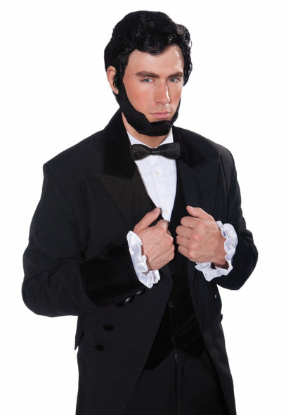 Abe Lincoln Adult Wig Beard Set Black Historical President Costume Accessory