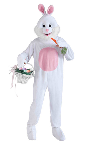 Rabbit Easter Bunny Mascot Costume Animal White Plush Fun Fur Adult Standard New