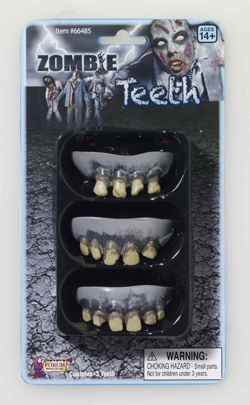Dead Zombie Rotted Teeth 3 Pack Halloween Costume Accessories Prop Rotten Adult